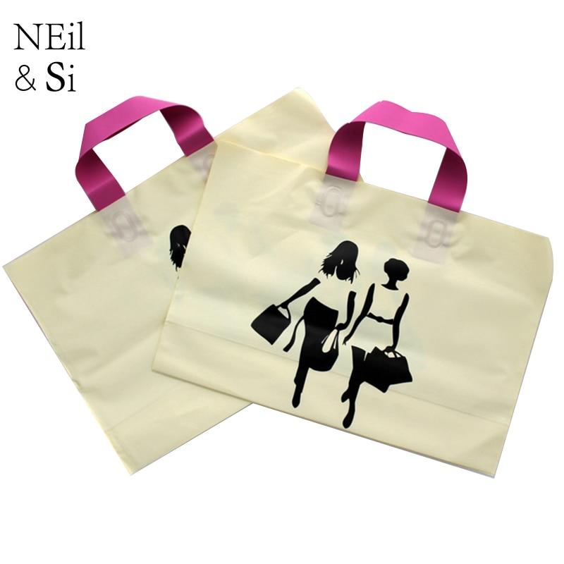 Plastic Handle Gift Bag Shopping Mall Women T shirt Fashion Package Wedding Candy Bags Yellow Pink