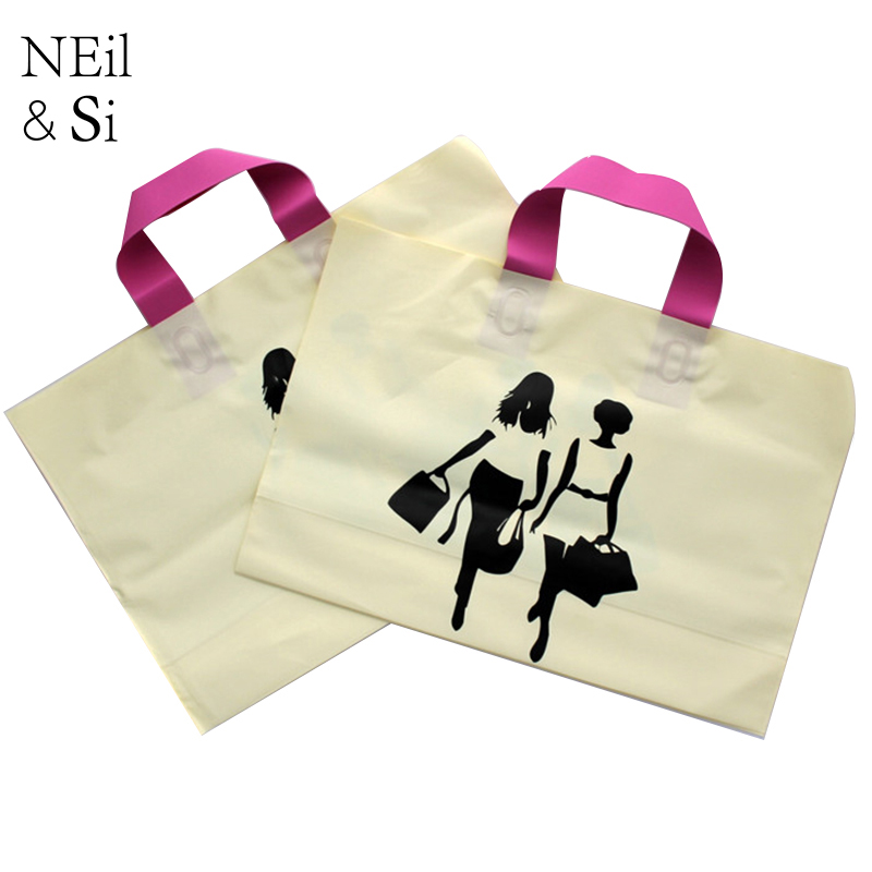 Plastic Handle Gift Bag Shopping Mall Women T-shirt Fashion Package Wedding Candy Bags Yellow Pink Bottom Free Shipping