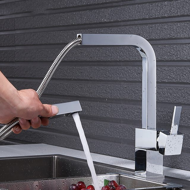 Quyanre Matte Black Square Pull Out Kitchen Faucet Single Handle Mixer Tap 360 Rotation Sprayer Hot Cold Water Mixer Basin Tap