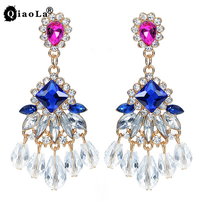 Qiao La 2017 New Hot Pink Water Drop Earrings Royal Blue Crystal Tels Dangle