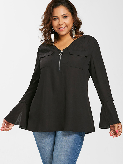 PlusMiss Plus Size Bell Flare Sleeve Front Zipper Tunic Tops 5XL XXXXL Women Big Size Black Chiffon Blouse Female 2018 XXXL XXL  4