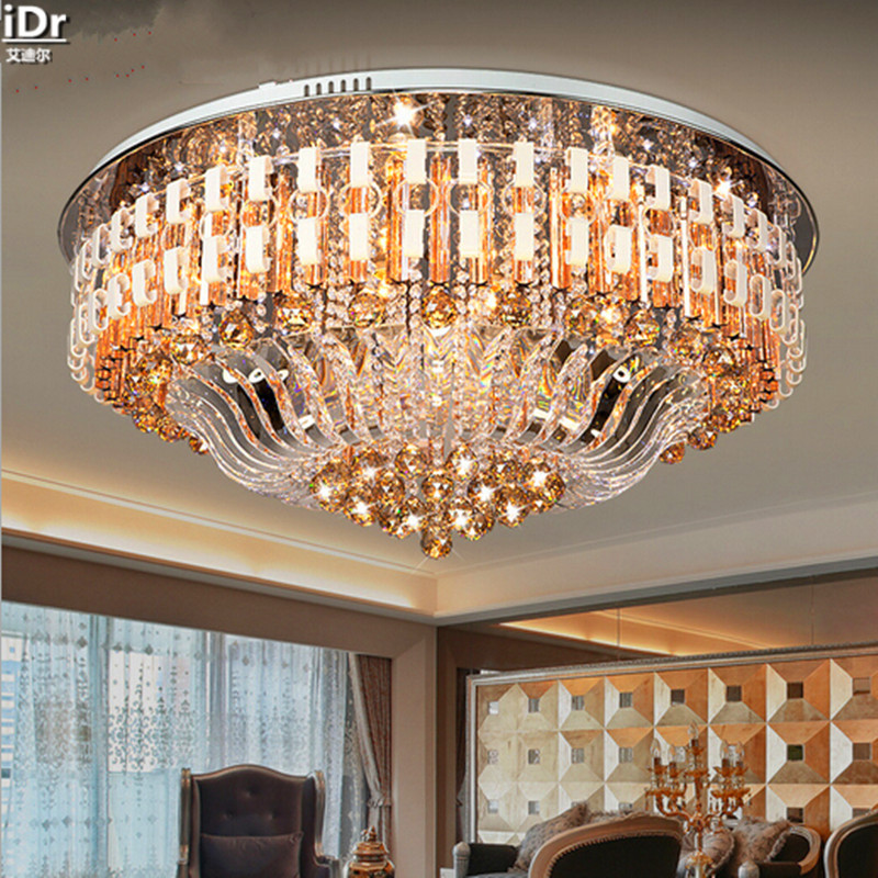 Gold Cornucopia Art Round Crystal Light Modern Minimalist Bedroom Lamp  Lighting Living Room Ceiling Lights Dia1000mm In Ceiling Lights From Lights  ... Part 85