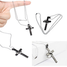 1 Pc  Chic Brand New Cross Bible Mens Stainless Steel Pendant Necklace B