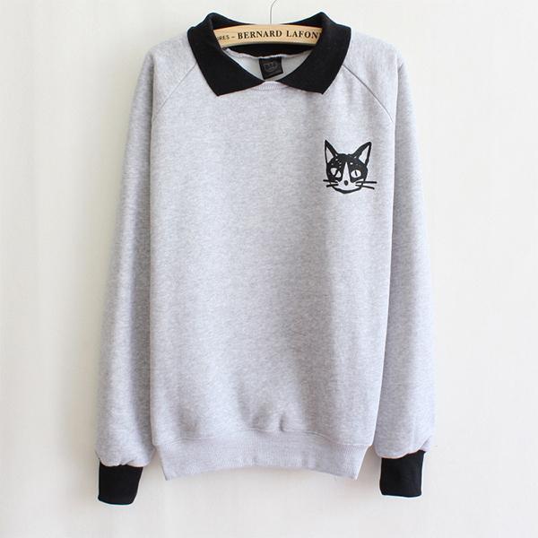 Fashion Women Lapel Neck Pullover Sweatshirt Cat Printed Loose Blouse Coat White/Grey Free Size Women's Casual Sweatshirt