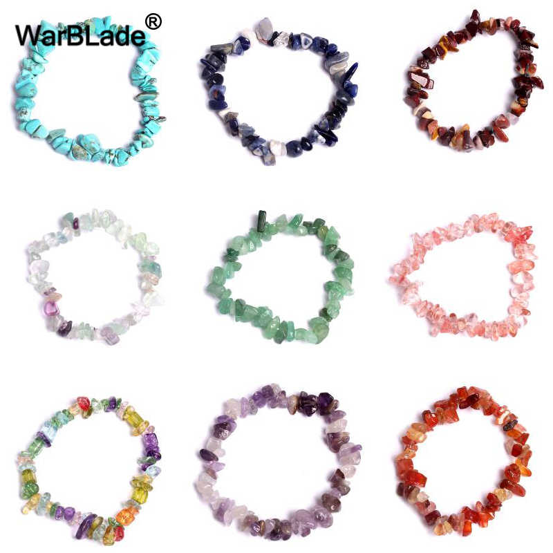 WarBLade Irregular Natural Gem Stone Bracelet Crystal Stretch Chip beads Nuggets Bracelets Bangles Quartz Wristband For Women