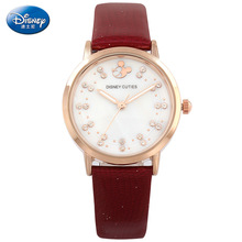 Disney бренда женские часы Алмаз Микки Женщины кварцевые 30 м водонепроницаемые наручные часы