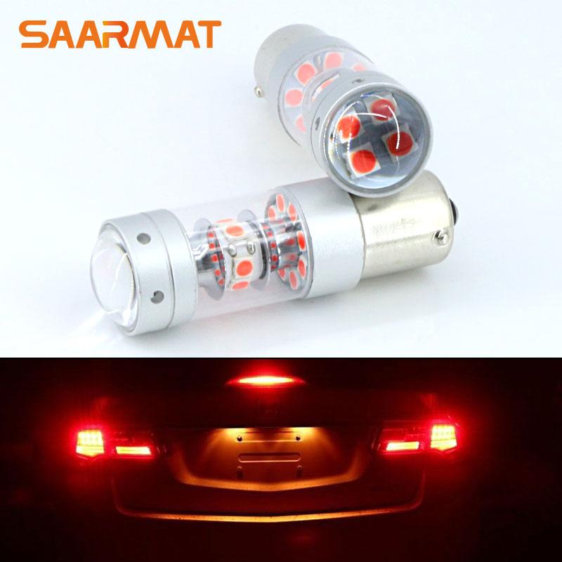 2pcs Error Free Brilliant Red 28-SMD 140W 1156 7506 P21W BA15S LED Bulbs For Turn Signal Lights Tail Lights Brake Lights