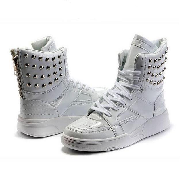 Venda quente Cor Sólida Sapatos de Hip Hop Homens Branco PU sapatos de Dança Sapatos de Plataforma Aumentou Sapatos Masculinos Dos Homens Partes Superiores Altas