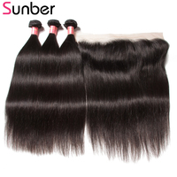 Sunber Malaysian Straight Hair 3 Bundles With One Piece Lace Frontal Remy Human Hair Bundles With Frontal Closure Free Shipping