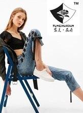HDP035 женская мода Тонкий высокая Талия сторона ремни узкие джинсы sexy полые ноги джинсы брюки вышивка джинсы/3 размер