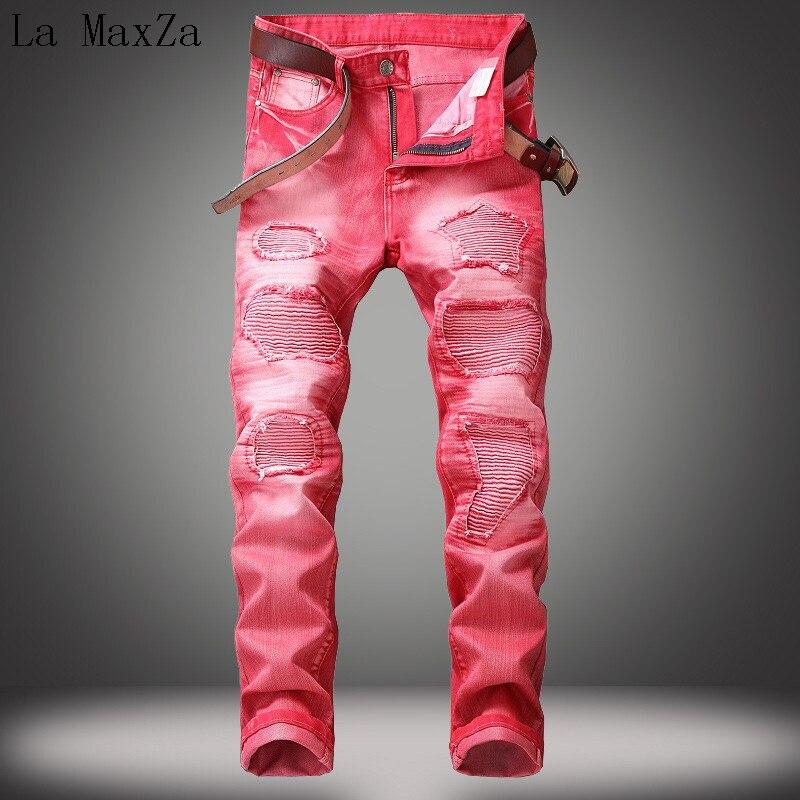 High Quality Plus Size 42 Vintage Washed Hole Denim Jeans Straight Pants Stretch Denim Men Jeans