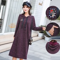Fashion Knitted Loose Casual Hooded Dress for Pregnant Mother Spring Winter Autumn Medium Dress