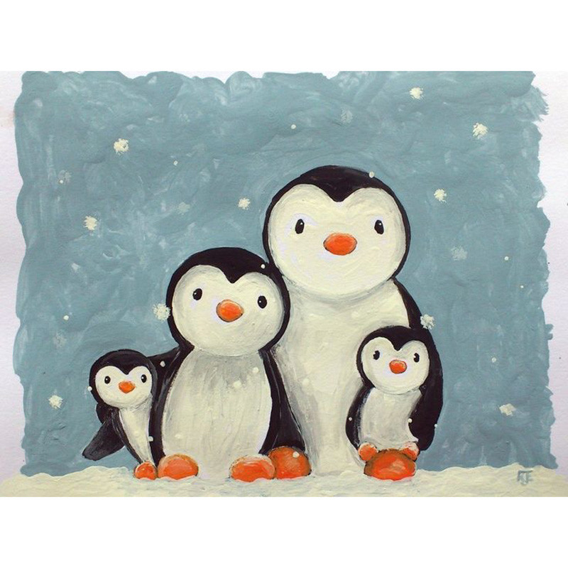 Diamond Embroidery Penguin Landscape Cross-Stitch Resin 5d Diy