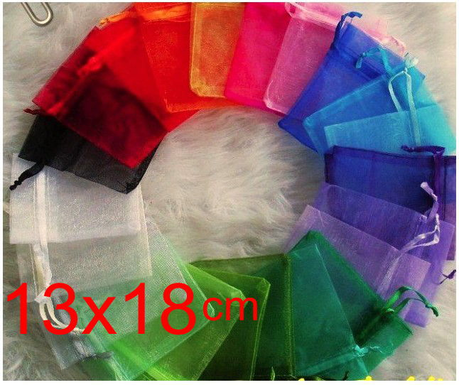 OMH wholesale 50pcs 13X18cm 10color mix chinese Christmas Wedding voile Organza Bags Jewlery packing Gift Pouches gift bag BZ09 in Jewelry Packaging Display from Jewelry Accessories