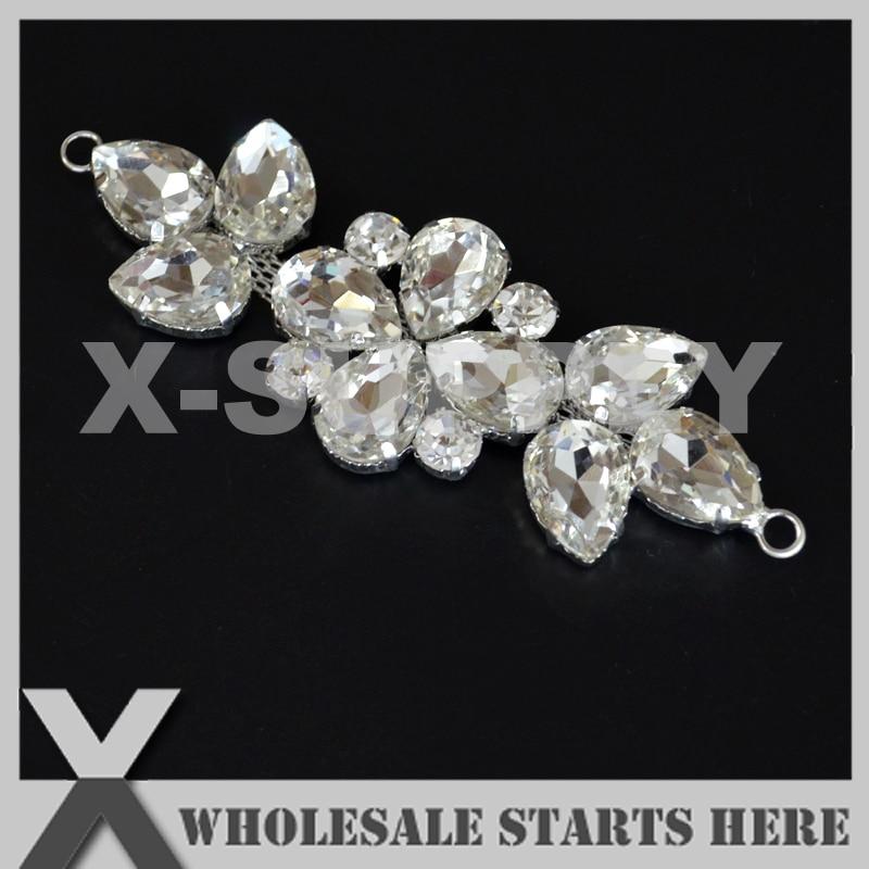 (5pcs lot) Small Silver Crystal Bridal Embellishment Appliques ff46db273dd5