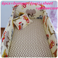 Discount! 6pcs Baby Crib Bumpers to Cot Bedding Set Newborn Cartoon ,include(bumper+sheet+pillowcase)