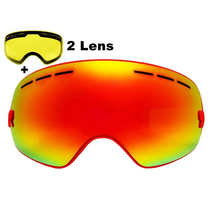 Prix pour 2 Lentille Lunettes de Ski Anti-brouillard Spherica Ski Lunettes UV400 Ski Snowboard Motocross Lunettes de Ski Lunettes Avec Éclaircissant Lentille