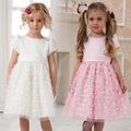Despacho de Muchachas de la Princesa Cabritos Del Vestido de Partido de La Manera Del vestido de Bola Vestidos de Niña de las Flores Vestido Del Nudo Del Arco de Los Niños de Manga Corta de Verano