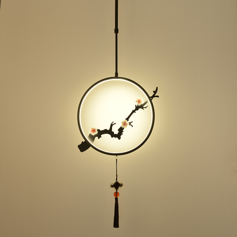 new round LED black /gold Creative branches pendant light corridor porch antique plum tea restaurant pendant lamps Z115028