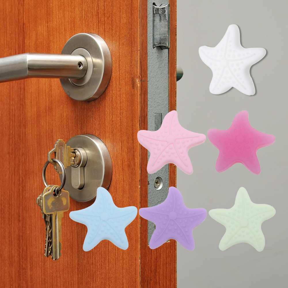 Starfish Shape Door Lock Protective Sticker Thickening Mute Handle Door Protective Bumpers Buffer Guard Stopper Pad Sticker