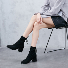2019 Fashion Women Boots Flock Ankle Boots Casual Lady Shoes Black/Gray/Khaki Spring/Autumn/Winter Female Shoes Woman Footwear mens riding ankle boots canvas fashion autumn winter shoes two wear talent black gray khaki casual lace up male leisure boots