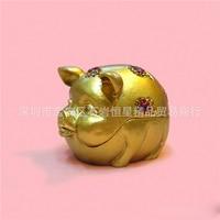 Europese Chinese stijl Metalen emaille geschilderd dier Lachend gezicht goud varken model, home desktop decor decoratie ornamenten (A613)