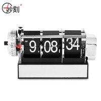 MIAO KE Dynamic Flip Clock Creative Vintage Quartz Movement Alarm Clock Metal Frame For Living Room / Office Decor Table Clock