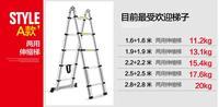 double 160 250 cm Thickening alloy aluminum retractable multifunctional folding A style dual purpose ladder