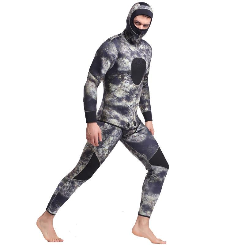 5mm Neopreen Twee Stuks Volledige Pak Mannen Plus Size Duiken Wetsuit Warm Houden Blind Stiksels Jumpsuit Surfen Pak Camouflage groene h2 - 5