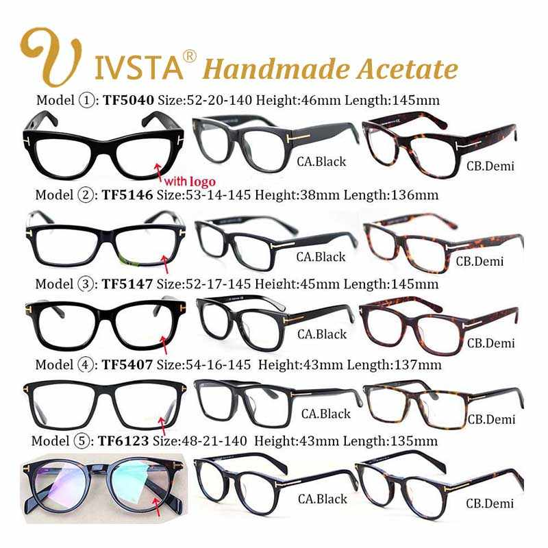 ce670db288a9b ... IVSTA TF 5147 5146 5040 5407 6123 with logo Real Handmade Acetate  Spectacle Frame Glasses Men ...