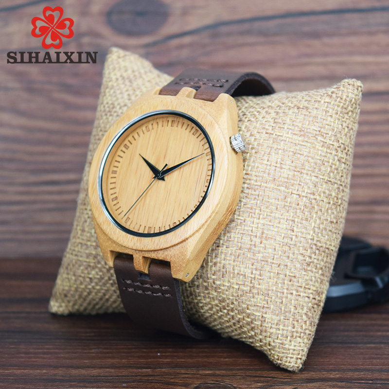 SIHAIXIN Original Natural Bamboo Bamboo Lover Casual Classic Style Quartz Watches With Real Leather Bracelet In Gift Box in Quartz Watches from Watches