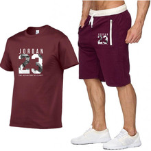 New casual suit men's summer quality couple sportswear cotton printing  Jordan 23 T shirt + shorts
