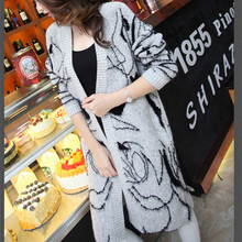 2015 New Autumn and Winter Long Section of Thick Loose Sweater Coat Female Long-sleeved Knit Cardigan Shawl