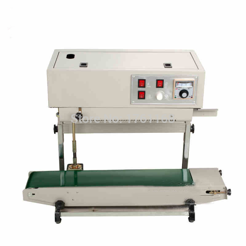 Continuous Sealing Machine For Plastic Film FR-900v Vertical Steel Sealing Machine Plastic Bag Thermostatical Control Sealer fr 900l vertical heat sealer sealing machine automatic continuous plastic bag sealing machine steel wheel print