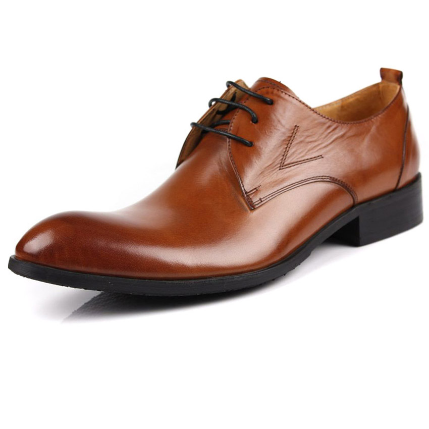 new genuine leather Autumn and winter classic men's dress shoes oxfords brogue wedding party business shoes pointed toe lace-up 2017 new genuine leather mens oxfords business dress wedding shoes lace up british style top quality cow leather brogue oxfords