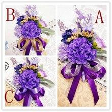 Nova 1 Pcs corsage para noivo padrinho de casamento da dama de honra flores artificiais casamento Boutonnieres acessórios de decoração