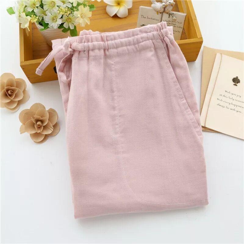 Новинка, хлопковые парные пижамные штаны, весна-лето, для мужчин и женщин, тонкие домашние штаны, свободные, большие размеры, хлопковые марлевые пижамные штаны - Цвет: Woman pink