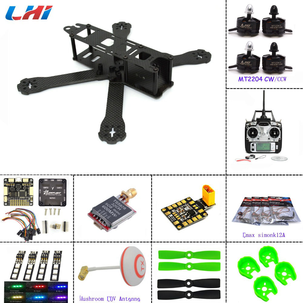 QAV220+F3 Flight Controller LHI 2204 2300KV Motor Carbon fiber DIY mini drone FPV 220mm quadcopter + FS-T6 remonte control carbon fiber diy mini drone 220mm quadcopter frame for qav r 220 f3 flight controller lhi dx2205 2300kv motor