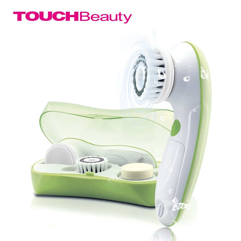 TOUCHBeauty 3 in1 Rotating Facial Cleansing Brush set with 3 Replacement Brush Heads, 2 Speed Settings with storage box TB-0759A new 3 in1 multifunctional facial cleaning tools usb rechargeable electric rotating facial cleansing brush cleaners scrubber