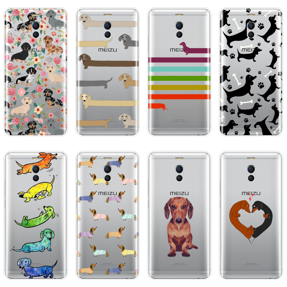 TPU Dachshund Dog Heart Phone Case For <font><b>Meizu</b></font> M2 M3 <font><b>M3S</b></font> M5 M5C M5S M6 M6S M6T Soft Silicone <font><b>Back</b></font> <font><b>Cover</b></font> For <font><b>Meizu</b></font> M6 M5 M3 M2 Note image