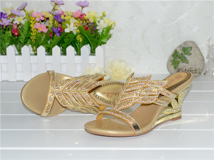 2016 Summer New Diamond Slope With High Heeled Wedges Online Shoes Sandals Size 11 Womens Golden Open Toe Slippers10