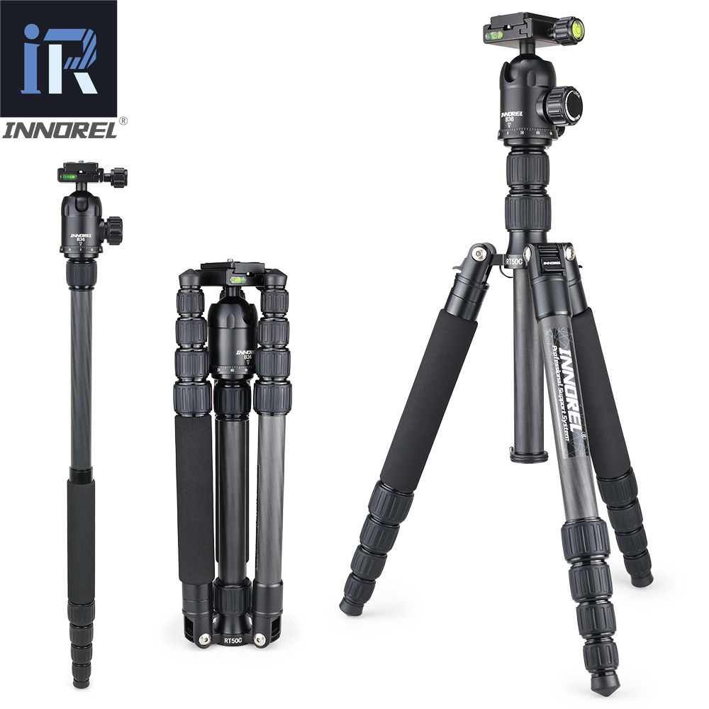 INNOREL RT50C Professional Carbon Fiber Camera Tripod Travel Compact Tripod Video Monopod with Quick Release Plate