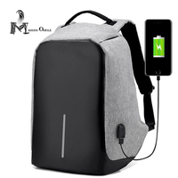 Anti Theaf Backpack Camera Women Mens Business Bag Grey Oxford Backpack For Daily Travel USB Backpack