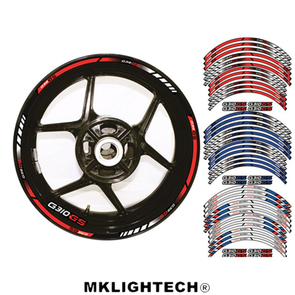 Motorcycle acessories 12 X Thick Edge Outer Rim Sticker Stripe Wheel Decals FIT BMW G310GS 17 19
