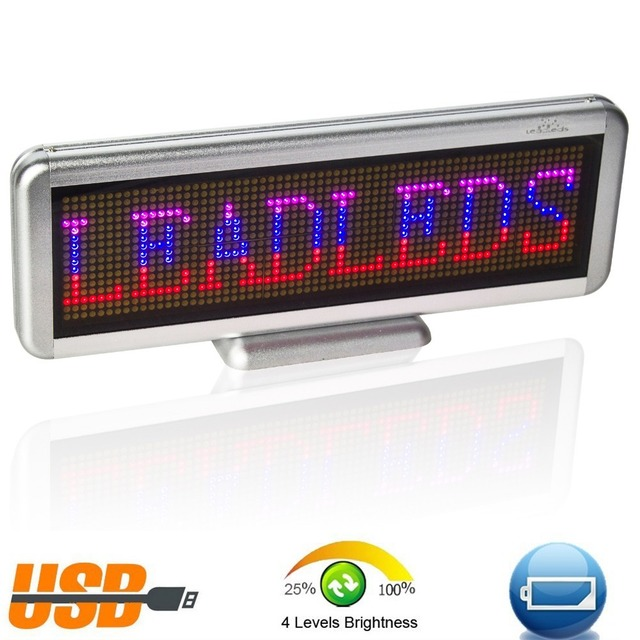 16 x64 pixel Rechargeable Usb Programmable Scrolling Electronic Led Sign Display Board, Red/blue/pink Multi-language display