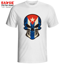 все цены на Mysterious Smile From Cuba Skull T Shirt Awesome Cartoon Design Brand Novelty T-shirt Print Fashion Rock Men Women Tee