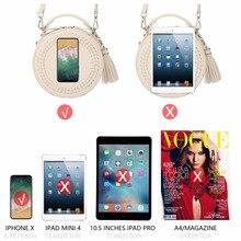 DAVIDJONES women messenger bags leather female messenger bags small lady knitting circular bag round girl  handbag drop shipping