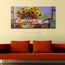 Handpainted large size abstract flower palette knife painting on canvas for home wall decoration