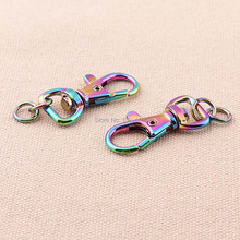 6pcs/lot New trendy beautiful shiny rainbow color top quality dog hook snap key ring buckle DIY handmade accessories