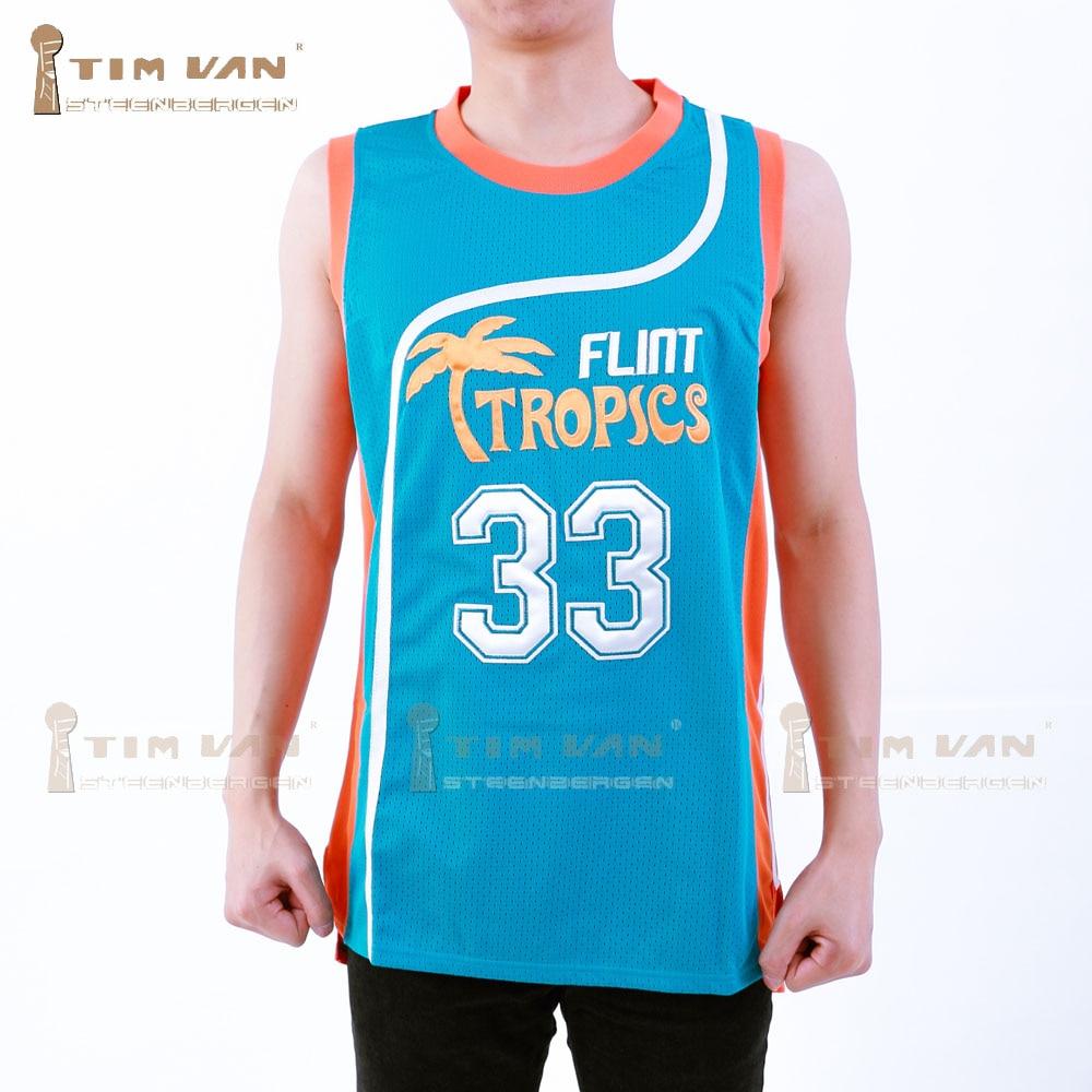 48b73f281f28 TIM VAN STEENBERGEB Jackie Moon 33 Flint Basketball Jersey All Sewn-Green